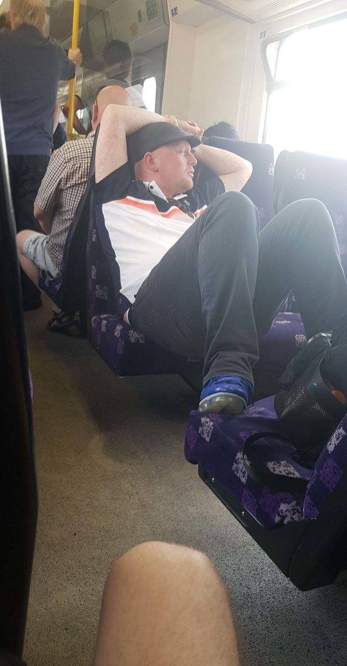 This Man Taking Up 5 Seats On An England Train On Possibly The Hottest Day The UK Has Seen