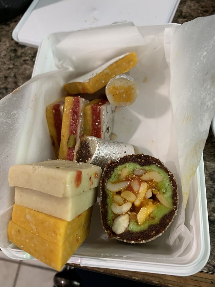 My Boss Just Got Married, And Due To A Combination Of Indian Tradition And Him Being A Bro, He Brought Us These Little Snackboxes. He Left Before I Could Ask Him Much About Them. What Are They Called And What Are They Made Out Of?