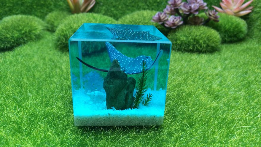 Fish Paperweight, Resin Diorama, Ocean Resin Art