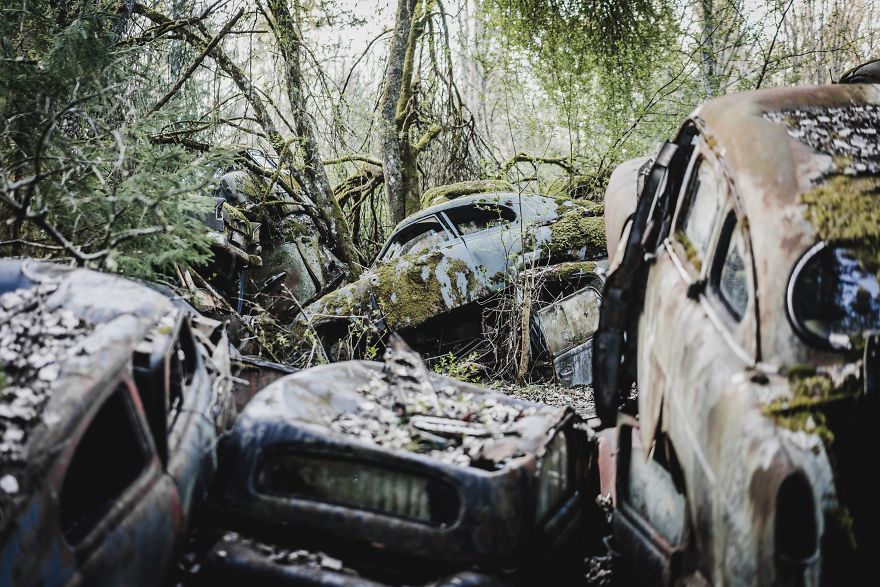 An Amazing Car Graveyard In Sweden
