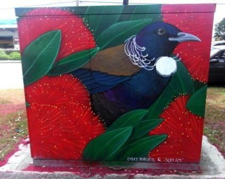 "Native Tui And Pohutukawa Flowers By Kane ""Scream"" Smith And Emily Roberts"