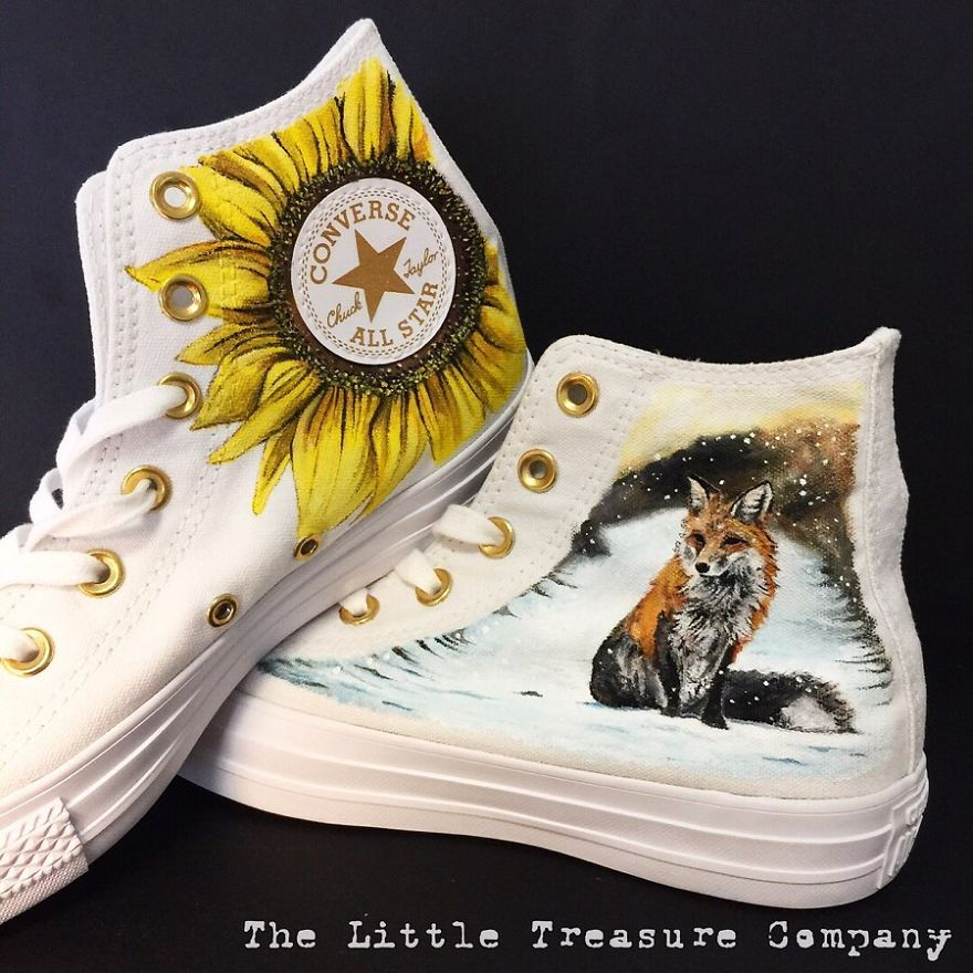 Hand-Painted Nature Themed Shoes