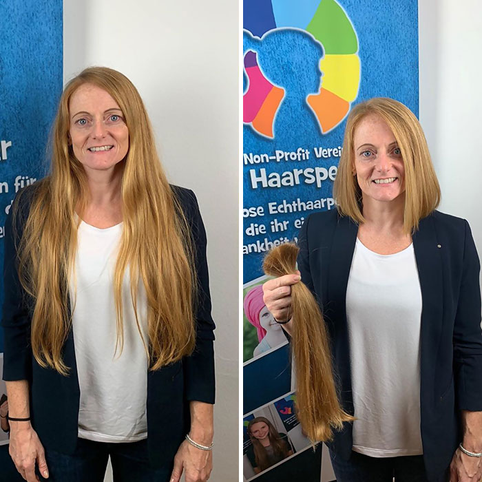 136 Before And After Pictures Of Generous People Who Donated Their Hair To People Sick With Cancer Success Life Lounge