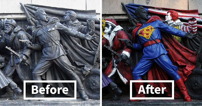 People In Bulgaria Keep Vandalizing This Soviet Monument And Some Of Its Makeovers Are Hilarious