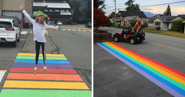 The City Council In A Canadian Town Voted Down A Rainbow Crosswalk, Citizens Found A Loophole And Painted 16 Of Them