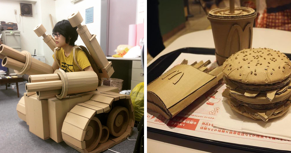 Japanese Cardboard Artist Turns Old Amazon Boxes Into Tanks, Food, And Other Incredible Sculptures (42 New Pic
