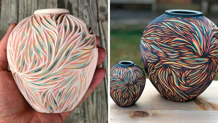 This Artist Carves Pottery And Reveals Unexpected Layers Of Colors Underneath