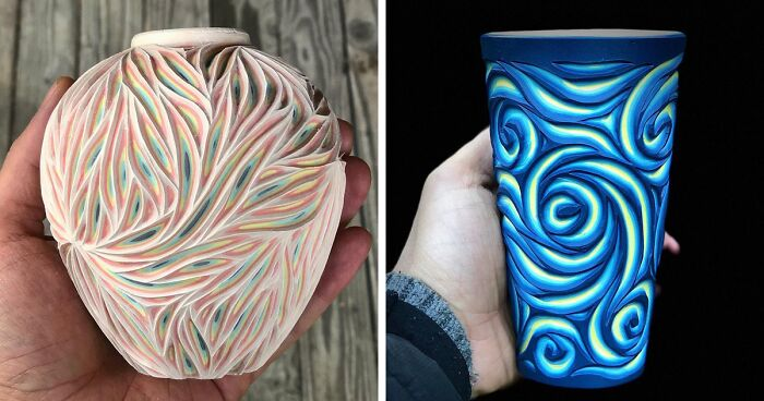Ceramicist Creates Stunning Multi-Layered Pottery By Carving Layers Underneath