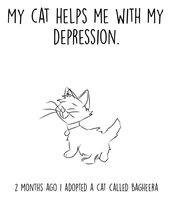 Depressed Guy Adopts A Cat, Illustrates The Ways It Helped Him Over The Past 2 Months