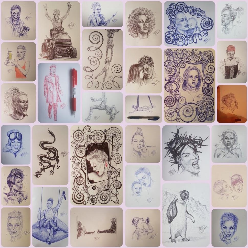 31 Drawings Of P!nk In 31 Days Of #inktober