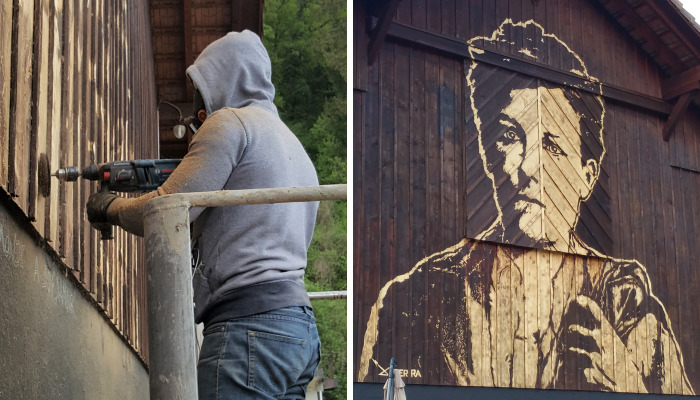 Arthur Rimbaud Engraved In A Wooden Wall