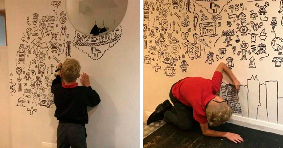 9-Year-Old Kid Who Kept Getting In Trouble For Doodling In Class Gets A Job Decorating A Restaurant With His D