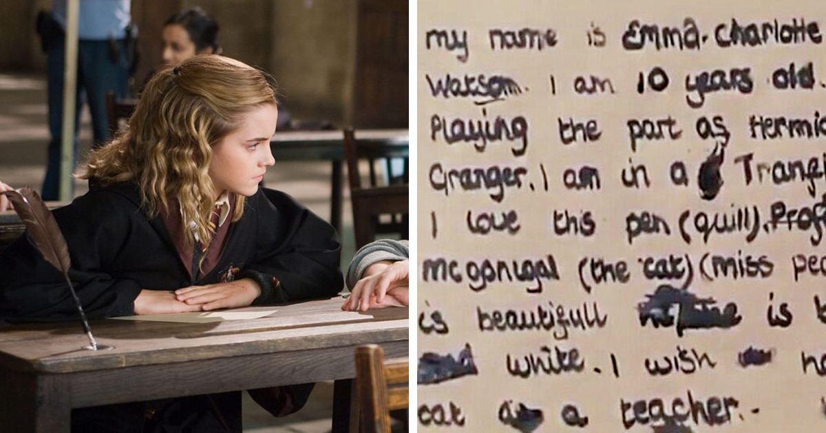 Here S The Note 10 Y O Emma Watson Wrote Using A Quill During The Shooting Of Harry Potter Bored Panda