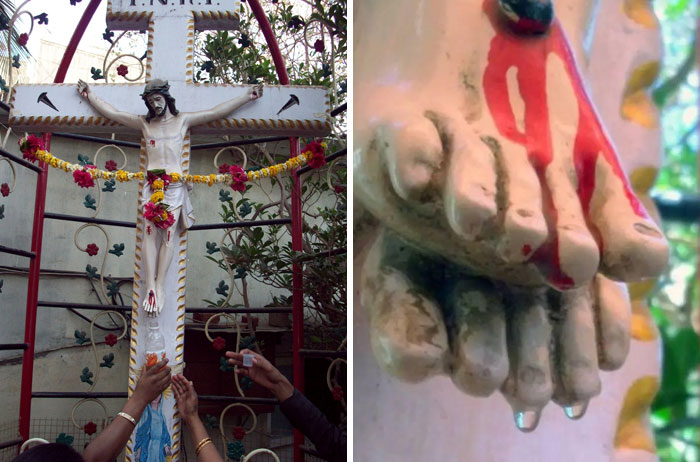A Statue Of Jesus In India Mysteriously Began Dripping Water From Its Toes. Worshippers Started Collecting It And Drinking It Believing It Was Holy. The Source Of The Water Was Later Found To Be Clogged Pipes