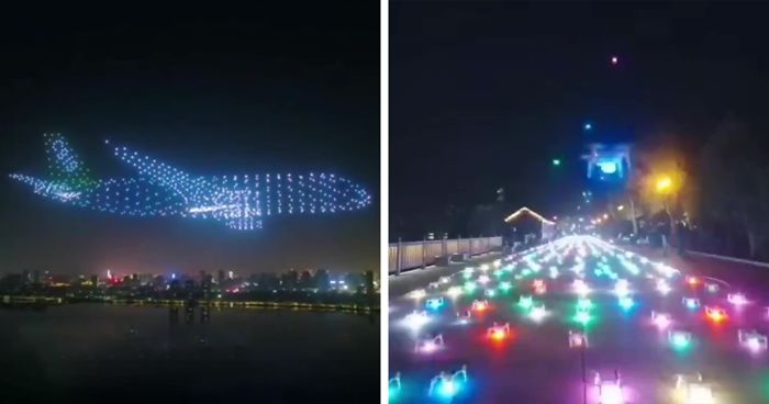 """Impressive """"Ghost Plane"""" Performance Out Of 800 Drones Appeared At Chinese Air Show"""