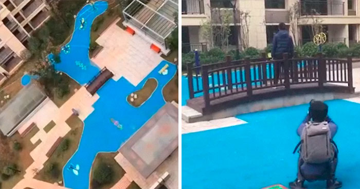 Homeowners Outraged After Realizing Their Builders Built A Plastic Lake Instead Of The Real One Their Pictures Showed