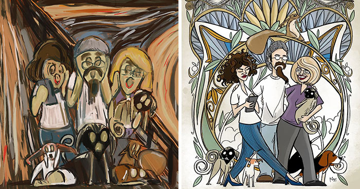 I Draw My Family In The Styles Of Famous Artists And Art Movements (15 Pics)