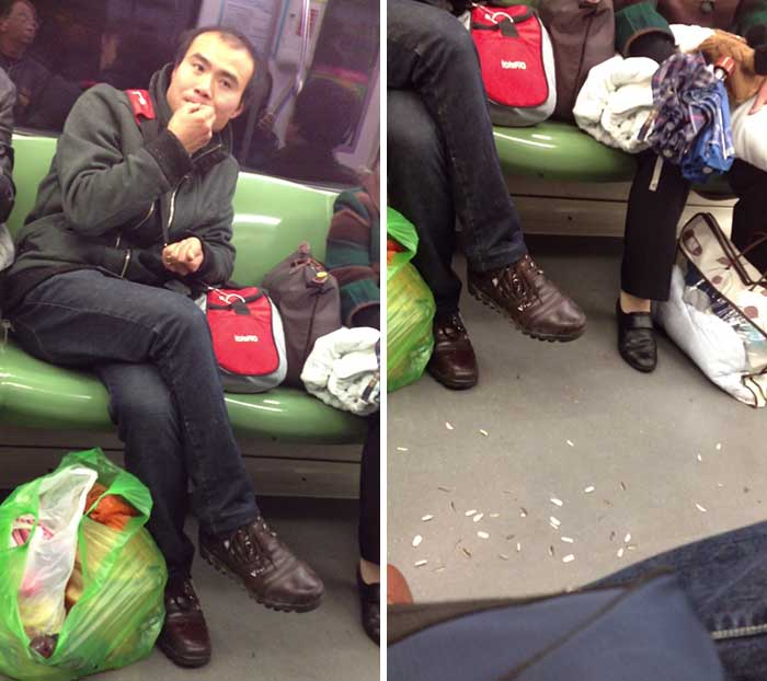 Buttwipe On The Subway Eats Sunflower Seeds And Tosses The Shells All Over The Train