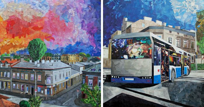 Cityscapes That Look Like Oil Paintings Which I Create Using Only Paper And Glue (New Pics)