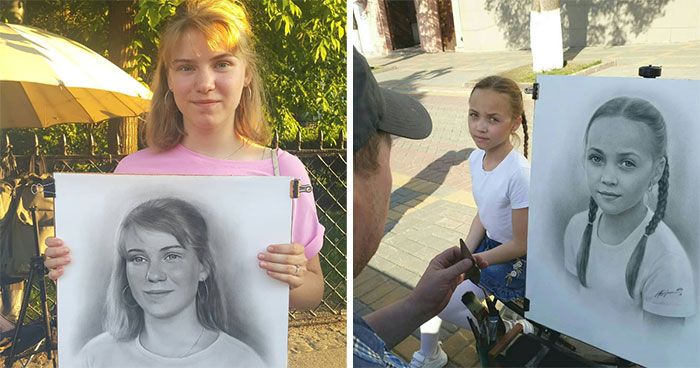This Russian Street Artist Draws Photorealistic Live Portraits And Each One Takes Up To An Hour (46 Pics)
