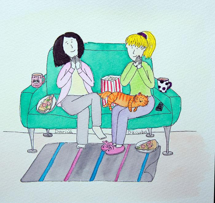 Enjoying A Movie With A Friend
