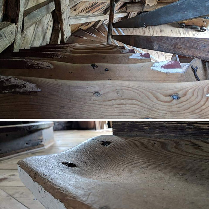 Windmill (1680) With Worn Down Stairs And Bottom Step (Where Everyone Would Pivot)