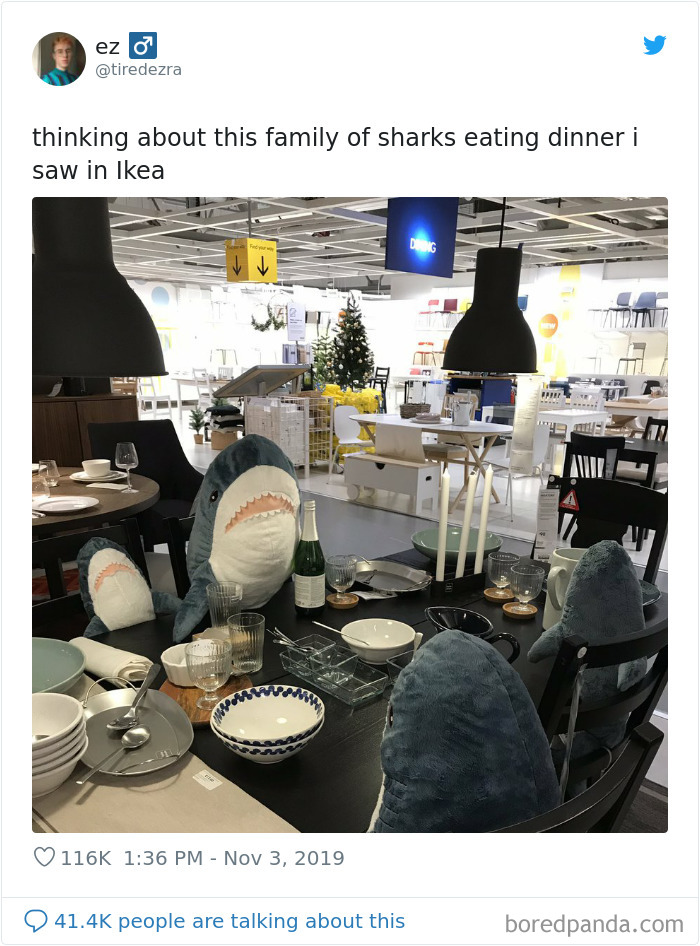 "22 Times IKEA Customers Spotted Shark Plushies ""Doing Human Things"" At Their Stores"