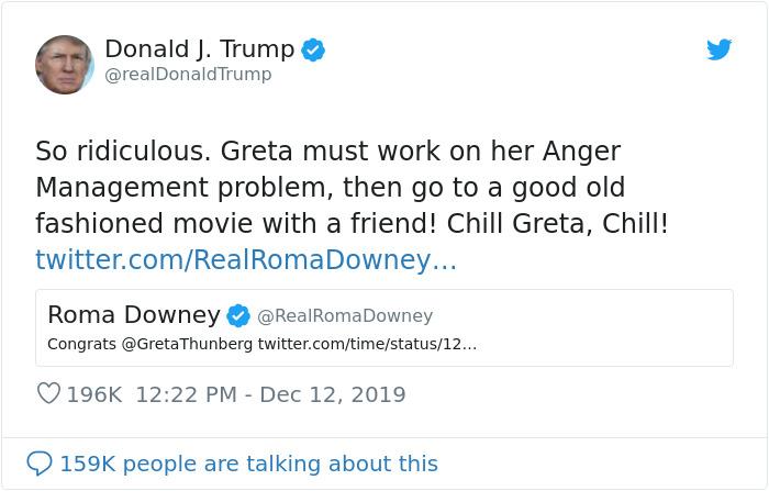 Трамп высмеял то, что Грету Тунберг назвали человеком года. Грета ему ответила (фото 1)