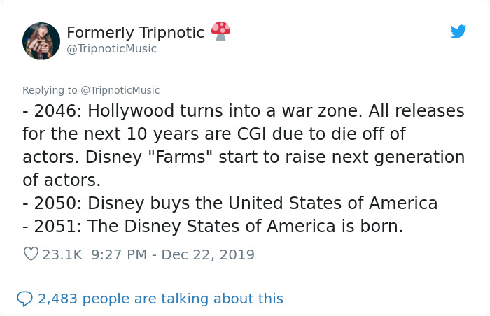 Guy Hilariously Predicts Disney's Future By Writing A Timeline From 1995 To 2100