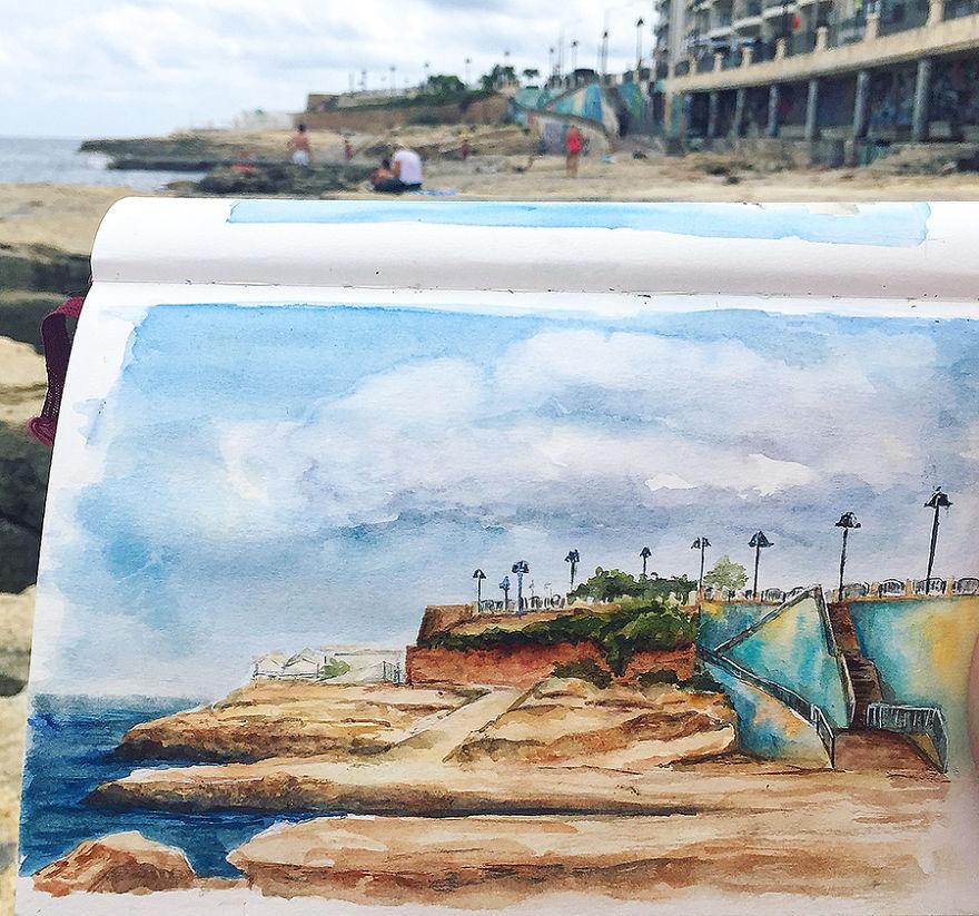 Beach In Sliema, Watercolor Sketch