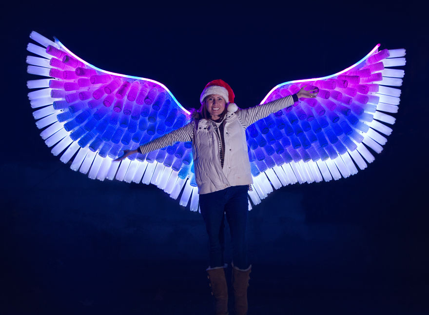 My Family And I Created A Led Angel Wing Light Sculpture Using 300 Recycled Water Bottles