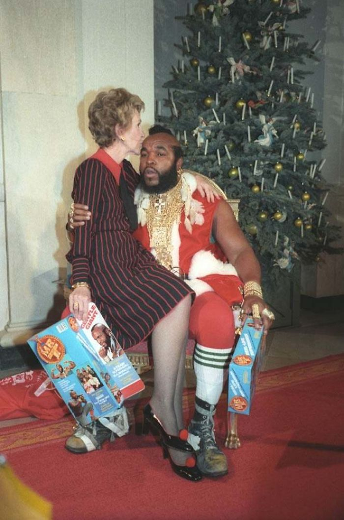 Nancy Reagan Sitting On Mr. T's Lap