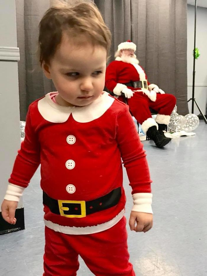 We Dressed Up Our 18 Month Old Daughter To See Santa. She Was Not Pleased