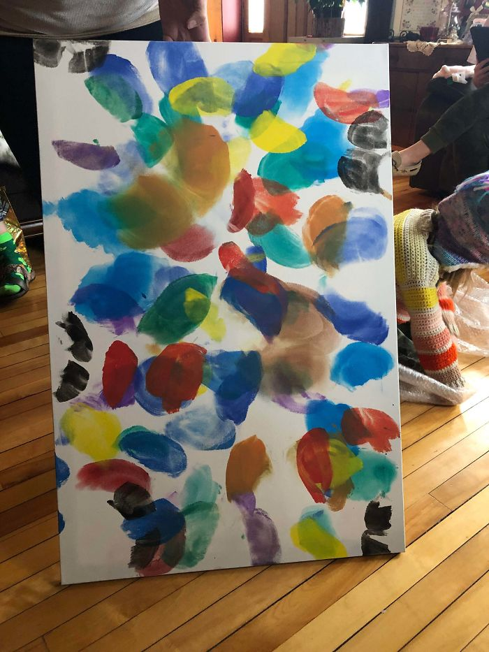 """I Asked For Art For My New Apartment This Christmas. May I Present """"Butterflies"""", A Painting From My Nieces Made Entirely With Their Butt Cheeks. Lovely"""