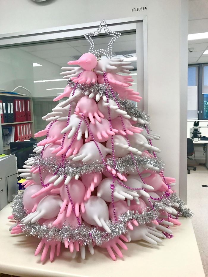 This Christmas Tree Made Of Latex Gloves In My Laboratory