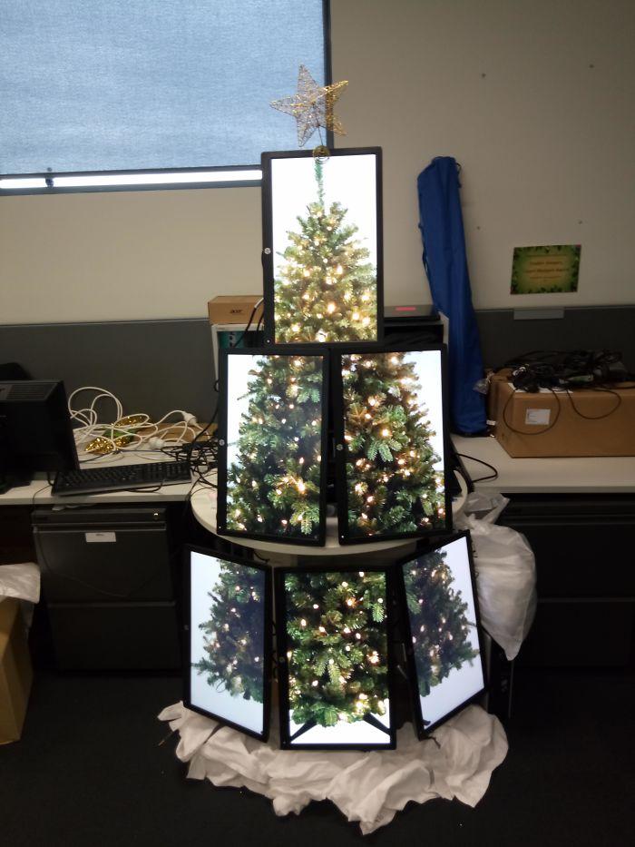 Vyrobil som vianočný stromček vyrobený z monitorov