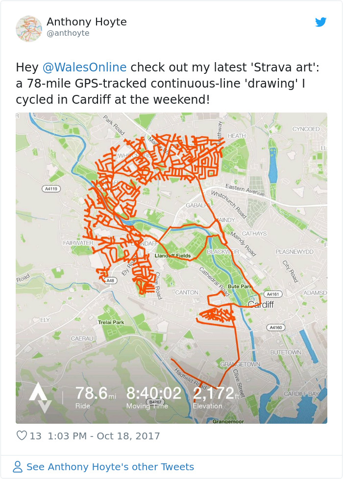 Cyclist Spends 9 Hours Pedaling Around London To Create An Image Of A Reindeer On A Fitness App
