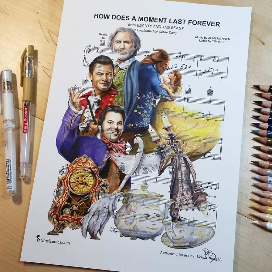 Artist Draws Disney Characters And Popular Singers On Sheet Music By Her Songs (New Pics)