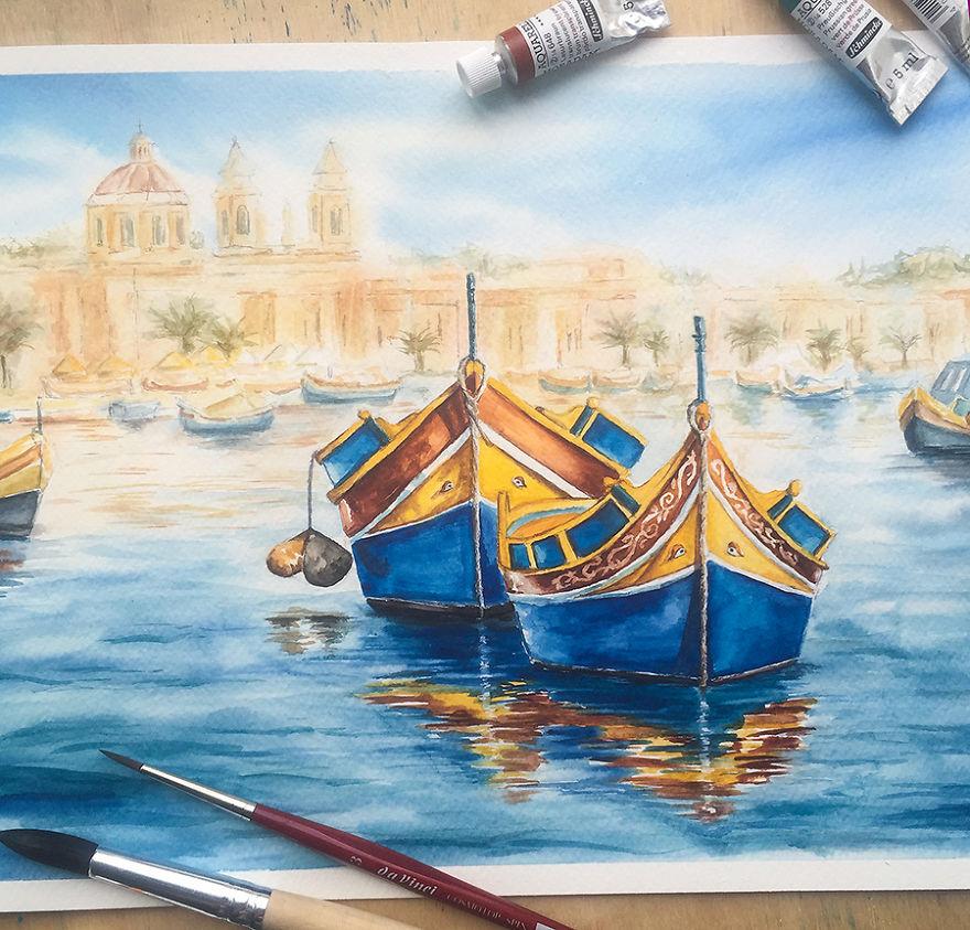Colorful Luzzu Boats In Marsaxlokk