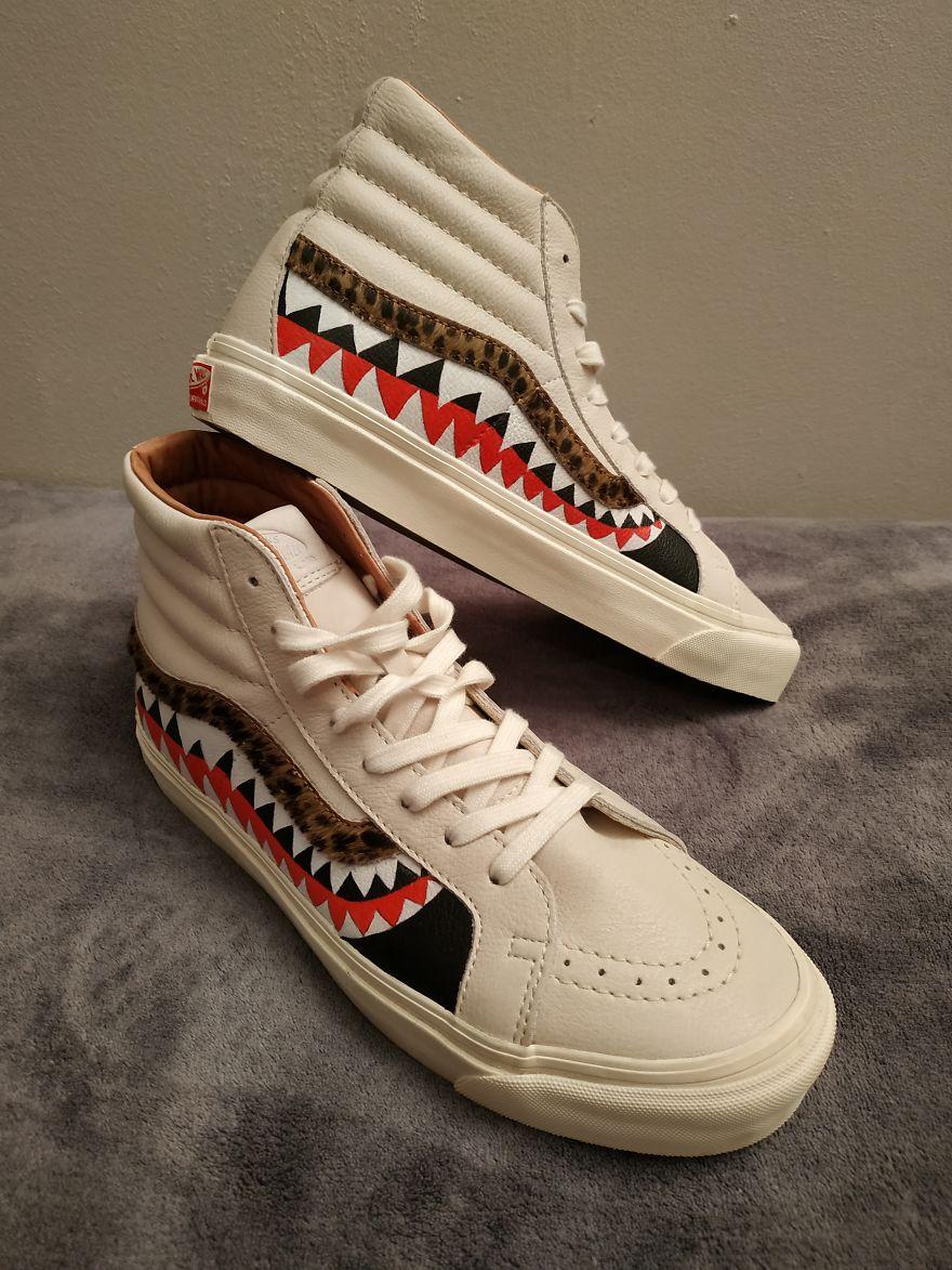Shark Custom On Vans Leather Sneakers