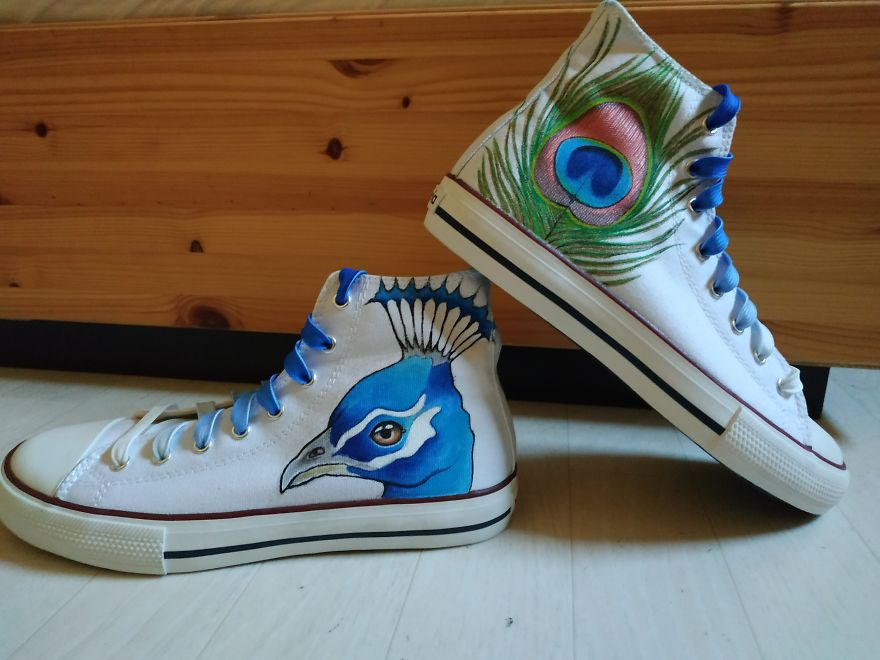 Peacock And Feather, On Victoria Shoes