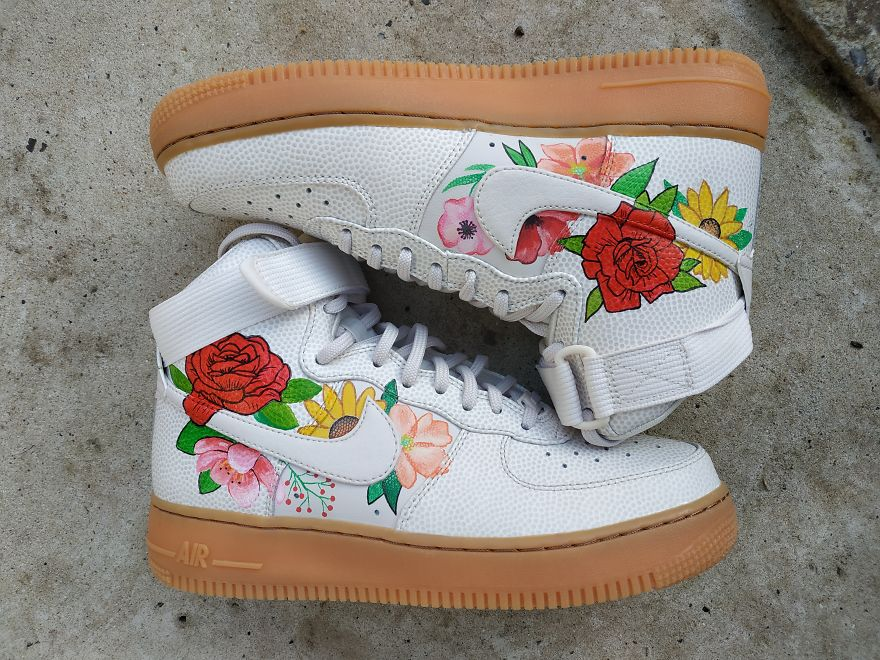 Flowers On Nike Sneakers, Leather