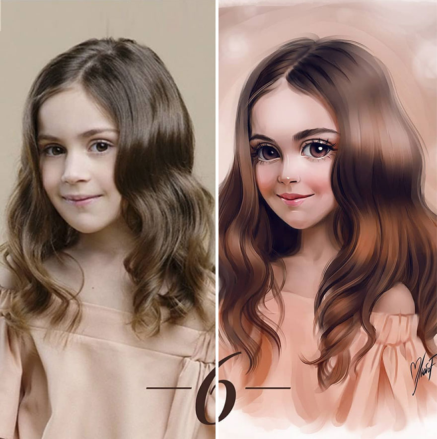 Illustrator Turns Kids Photo Into Cute And Amazing Caricatures