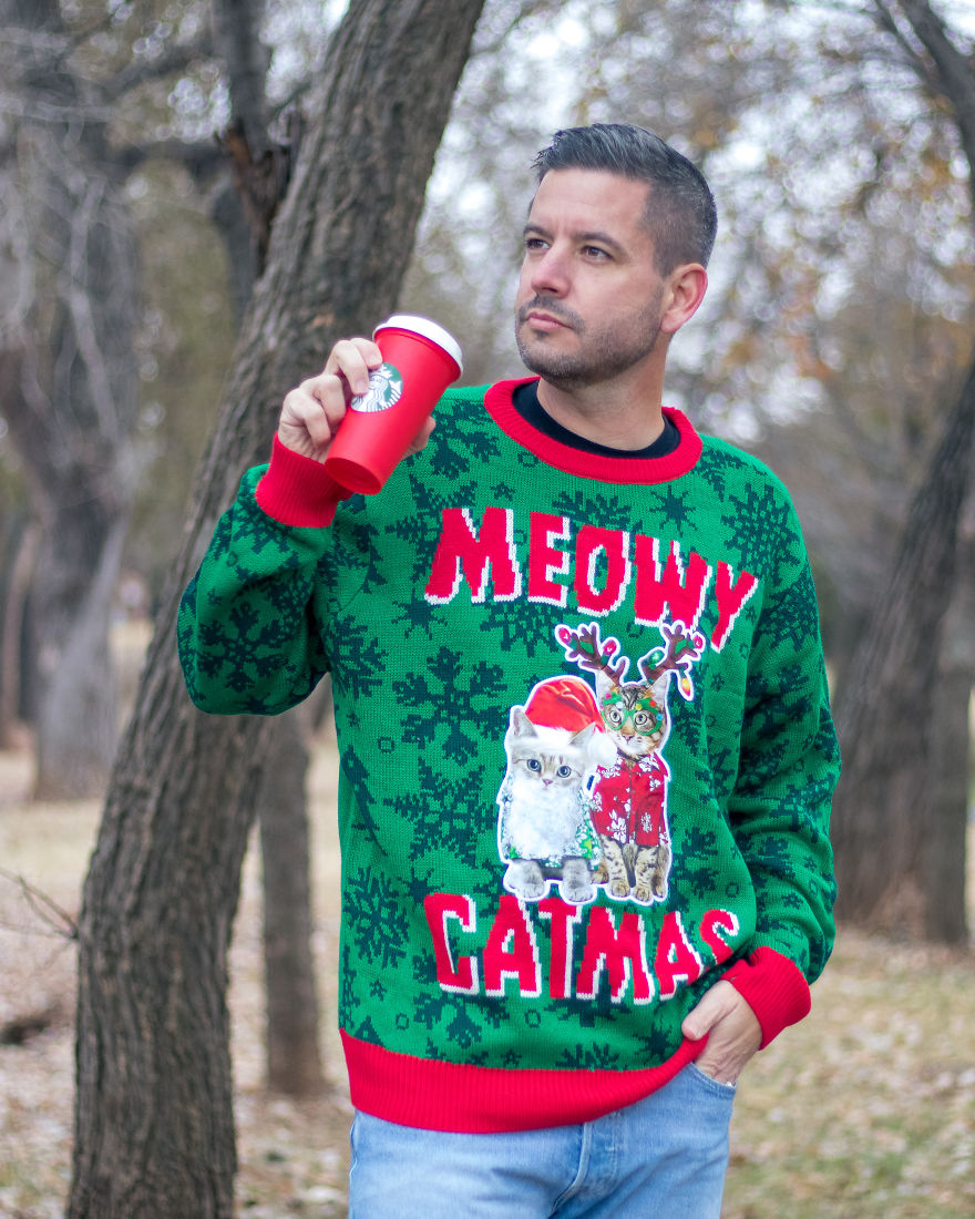 The Perfect Sweater For Those Who Love Christmas As Much As They Love Their Cats