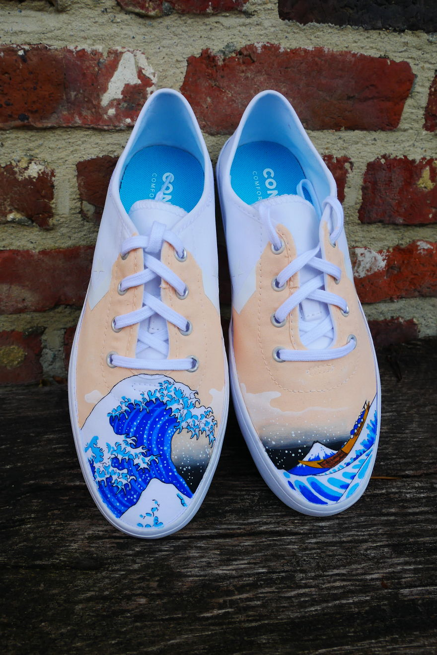 The Great Wave On Converse Shoes
