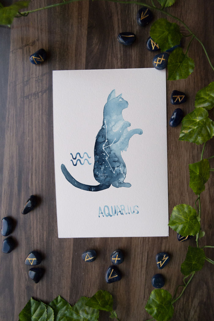 Twelve Zodiac Signs As Constellation Cats