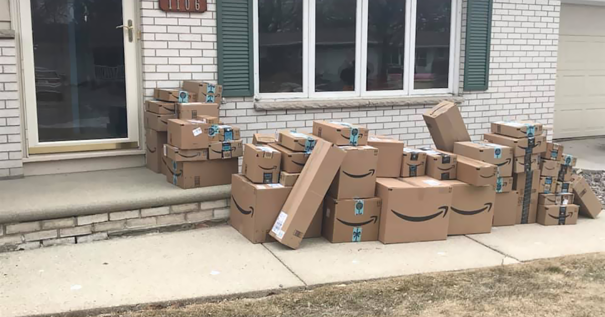 Woman Saves Amazon Boxes For 6 Months Just So She Could Prank Her Husband