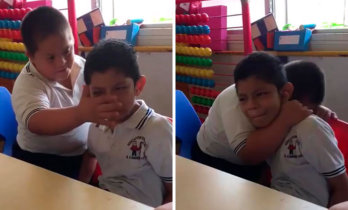 Video Of Boy With Down's Syndrome Comforting Classmate With Autism Goes Viral For The Right Reasons