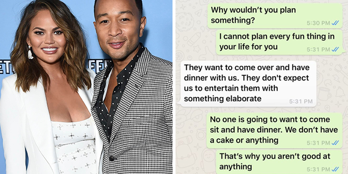 Surprise Last-Minute Dinner Plans Make Chrissy Teigen Mad At Her Husband, She Shares The Private Texts Online