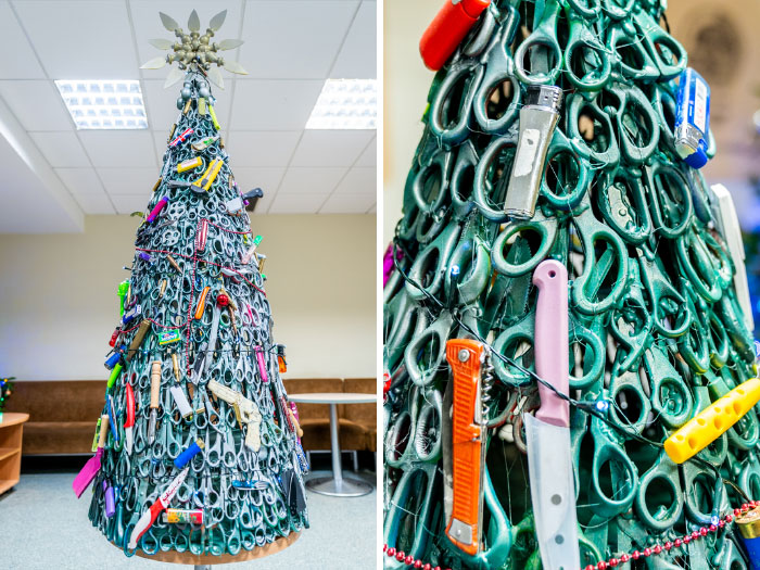 Vilnius Airport Puts A Christmas Tree Made Of Confiscated Items To Highlight The Importance Of Aviation Security